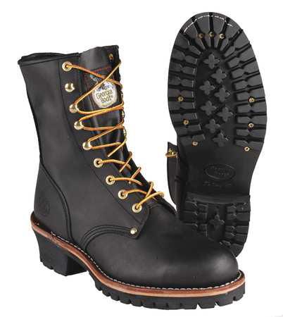 Georgia Boot Size 10-1/2 Steel Toe Logger Boots, Men's, Black, M, G8320 105 M