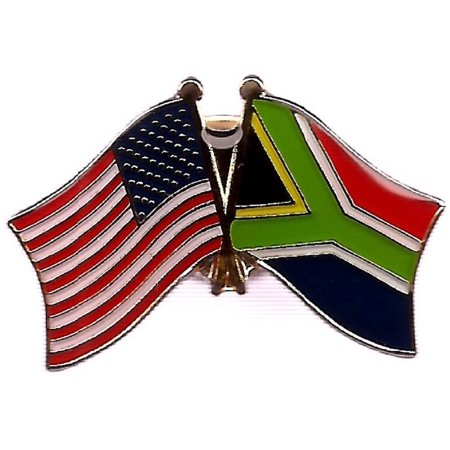 PACK of 3 South Africa & US Crossed Double Flag Lapel Pins, South African & American Friendship Pin Badge (Cheap Lapel Pins)
