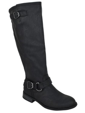 0a46235808d Product Image Oksana-84 Black PU Wild Diva Lounge Women Flat Riding Knee  High Boots Buckled Back
