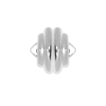 Mag-Lok Magnetic Clasp, Round with Loops 11mm Diameter, 1 Set, Silver Plated