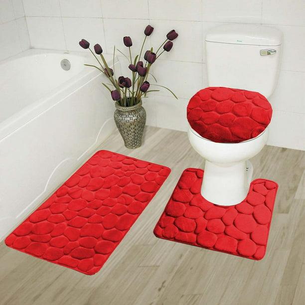 Velvet Geometric Moroccan Design Bathroom Rug Set 3pc Red Memory Foam Extrasoft Absorbent Anti Slip Super Cozy Machine Wash Includes 1 Bath Mat 1 Contour Mat 1 Lid Cover Walmart Com Walmart Com