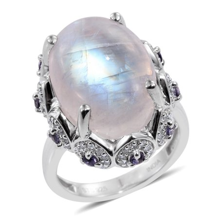 925 Sterling Silver Platinum Plated Rainbow Moonstone Iolite Cocktail Ring Jewelry for Women Size 8 Iolite Moonstone Ring