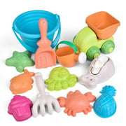12 Piece Kids Beach Sand Toy Set, Beach Bucket, Car, Watering Can, Shovel, Rake, Eco-Friendly Sandbox Toys Kids Outdoor Toys F-495