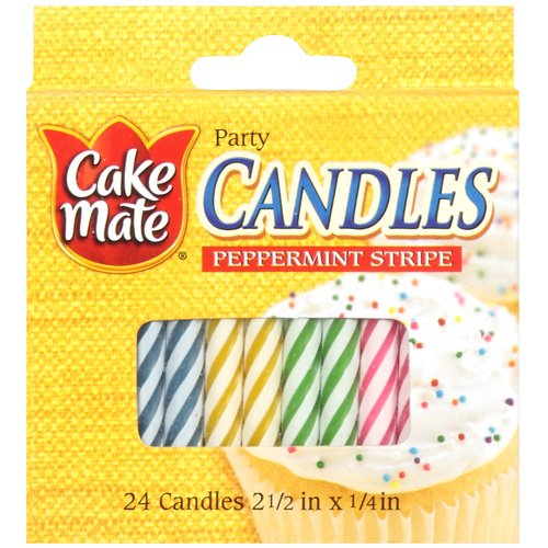 Cake Mate Peppermint Stripe Candles, 24 ct