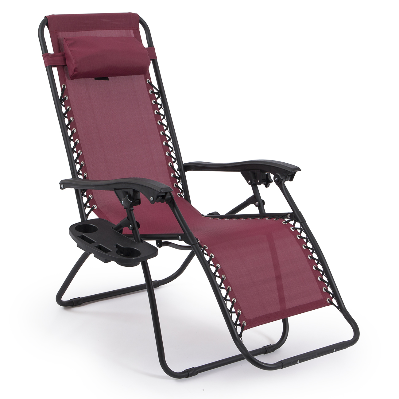 Belleze Set Of 2 Zero Gravity Chair Lounge Chairs With Utility Tray Cup Reclining Seat Burgundy