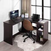 Oxkers Modern Writing Desk, Corner Desk, L-shape Computer Desk, PC Laptop Workstation with Hutch, Industrial Style Study Table for Small Places Home Office Bedroom