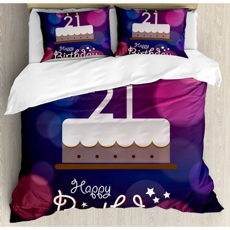 Ambesonne 21st Birthday Decorations Happy Quote With Stars On Abstract Image Duvet Cover Set