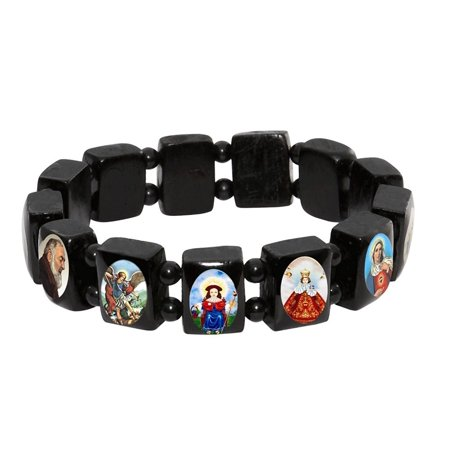 Wood Religious Bracelets (Black Wood Stretchable Bracelet by Catholica Shop with Assorted Catholic Religious Saints)