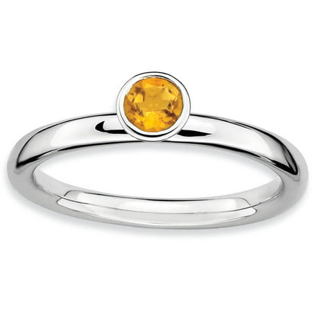 High 4mm Round Citrine Sterling Silver Ring - Ring Eraser