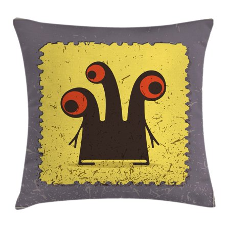 Abstract Throw Pillow Cushion Cover, Trippy Creature with Heads and Large Eyes on Yellow Stamp Figure Illustration, Decorative Square Accent Pillow Case, 16 X 16 Inches, Grey Seal Brown, by Ambesonne ()