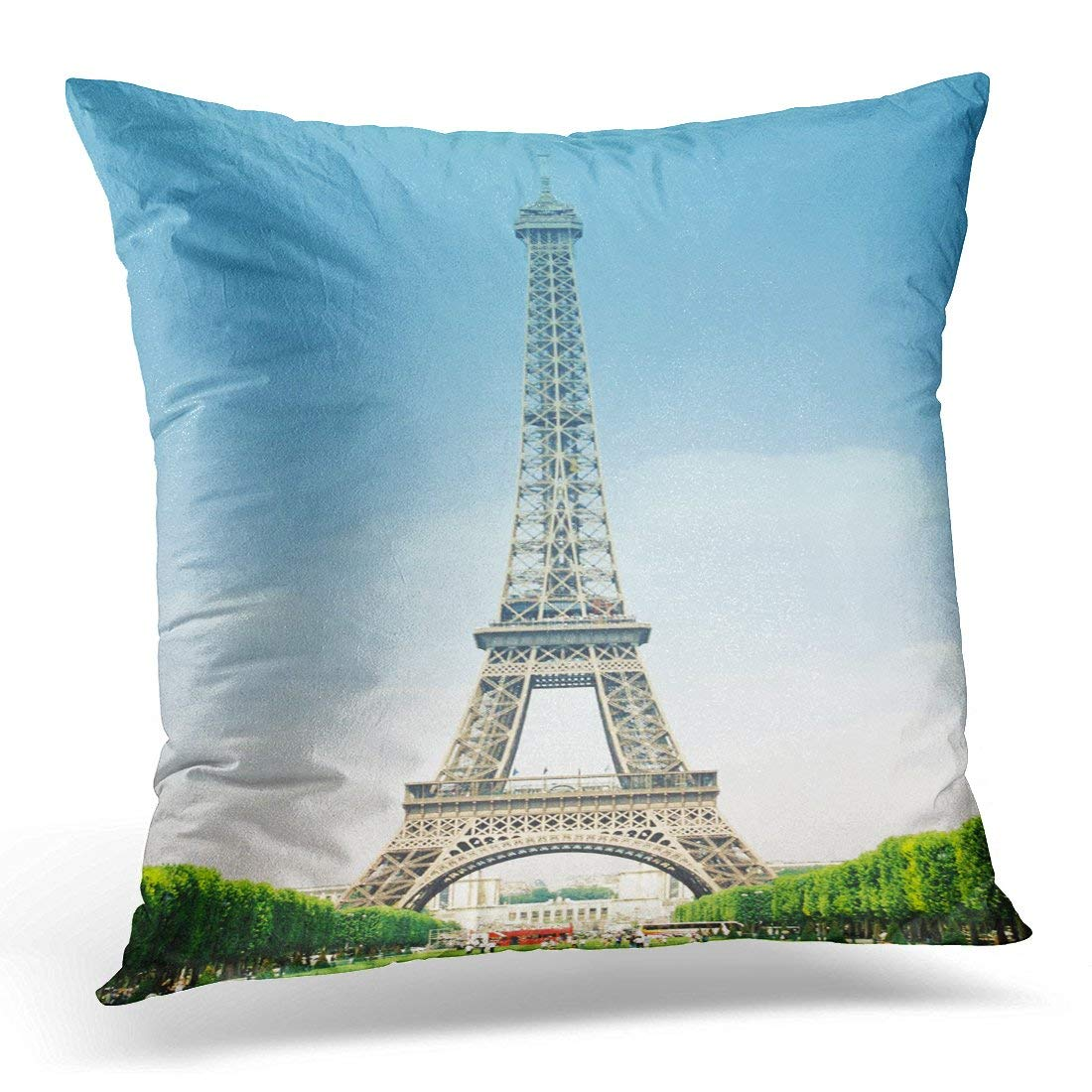 CMFUN Blue Eifel Eiffel Tower Vertical Clear Sky from South Green Architecture Pillow Case Pillow Cover 20x20 inch
