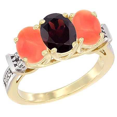 14K Yellow Gold Natural Garnet & Coral Sides Ring 3-Stone Oval Diamond Accent, sizes 5 - 10 14k Gold Natural Garnet Ring