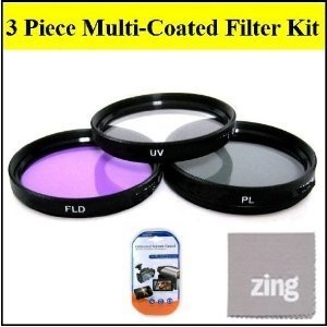 72mm Multi-Coated 3 Piece Filter Kit (UV-CPL-FLD) For CANON XH A1  XH A1S  XH G1  XH G1S  + MicroFiber Cleaning Cloth + LCD Screen Protectors
