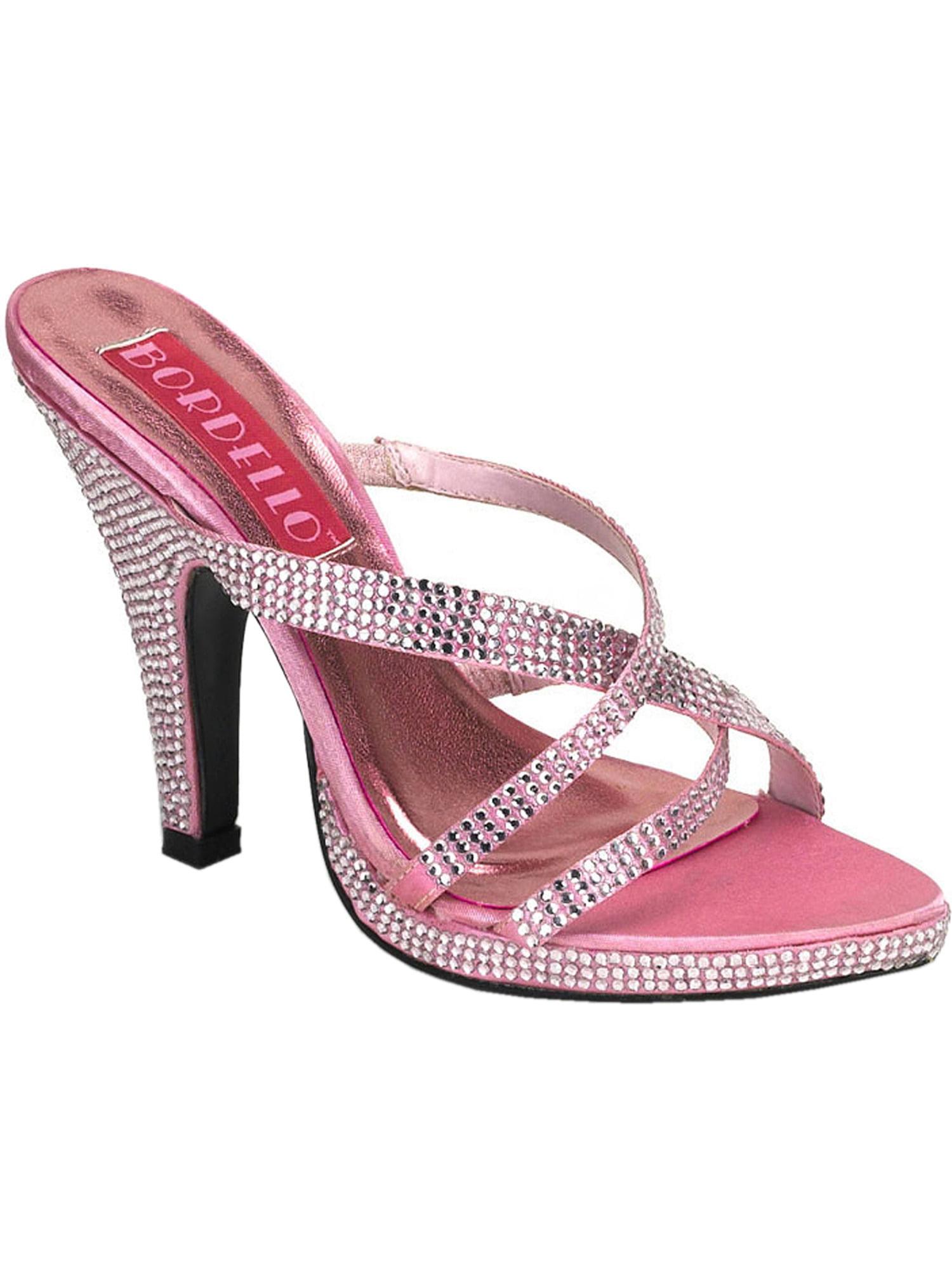 Womens 4 Inch Heels Rhinestone Slide Shoes Slip On Criss Cross Pink Sandals