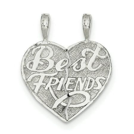 Sterling Silver Best Friend 2-piece break apart Heart Charm QC607 (27mm x 11mm) - image 2 de 3