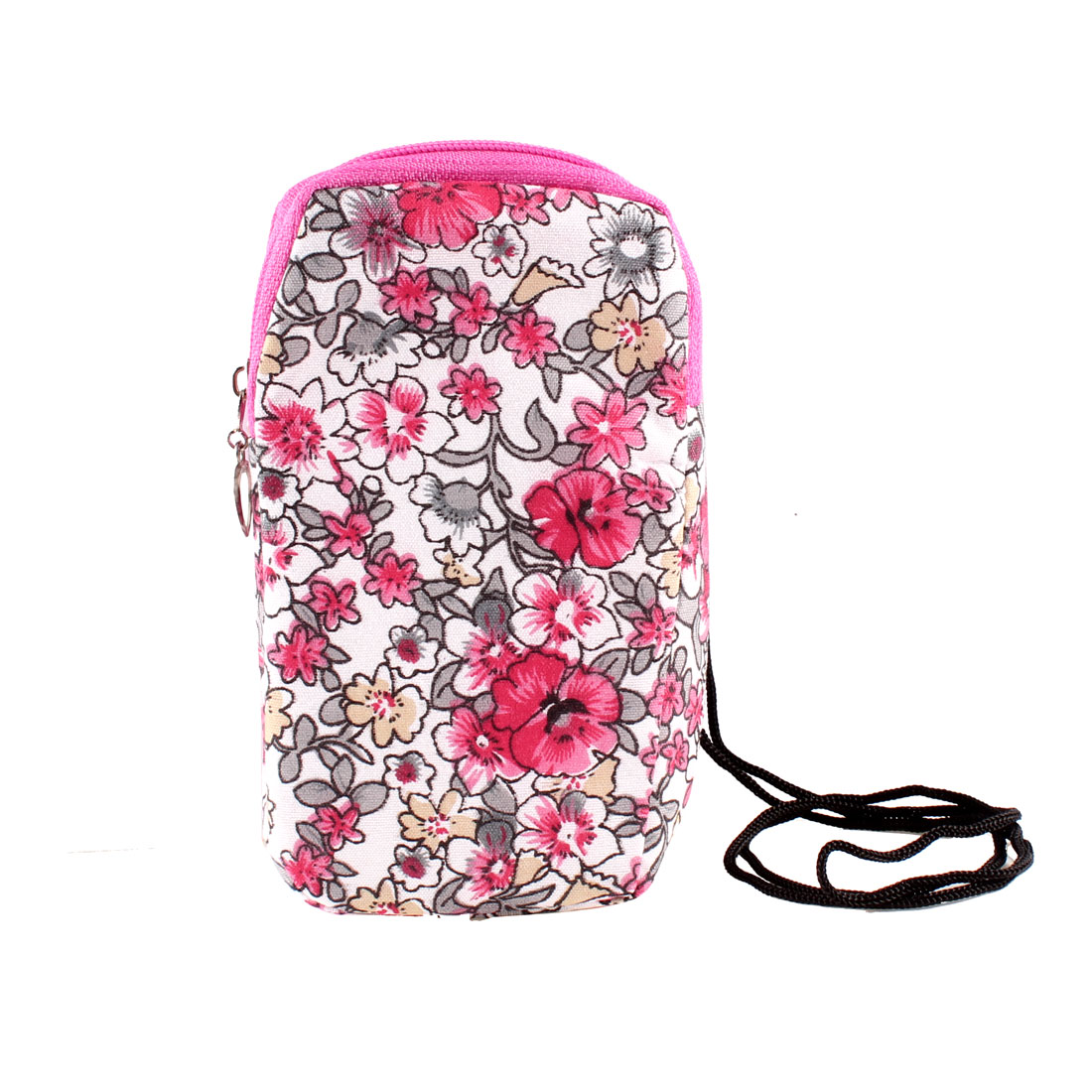 Red Gray Flowers Printed 2 Compartments Zip Up Phone Wrist Bag Holder