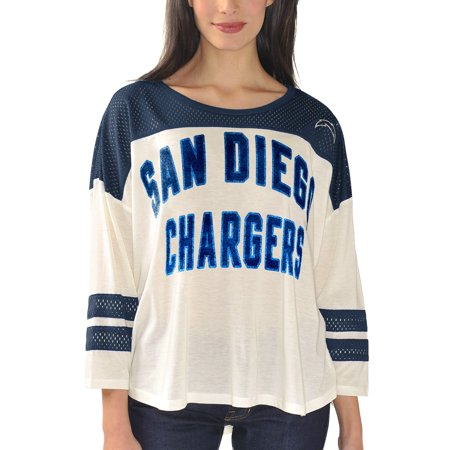 San Diego Chargers Women's Hail Mary 3/4 Sleeve T-Shirt - Cream