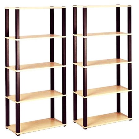 Open 5-Shelf Bookcases, Set of 2 Value Bundle, Multiple Finishes
