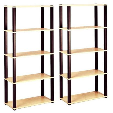 Open 5-Shelf Bookcases, Set of 2 Value Bundle, Multiple Finishes