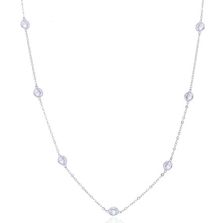 "3Ct Created Diamond By The Yard Bezel Station Solid 14k Gold Necklace 16"" - 24"""