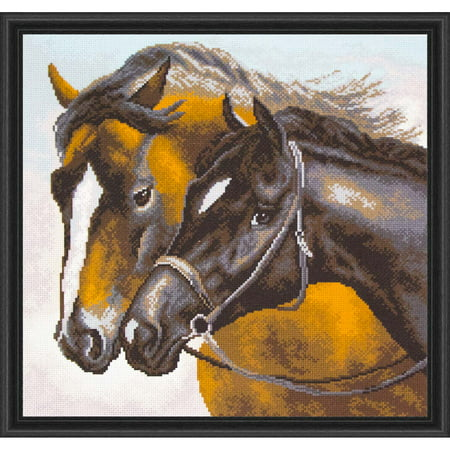 Horse Cross Stitch - Collection D'Art The Horses Stamped Cross-Stitch Kit