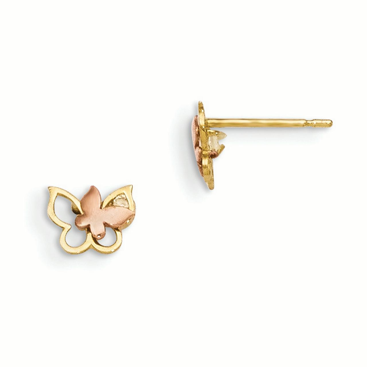 14k Yellow and White Gold Yellow & Rose Gold Madi K CZ Children's Butterfly Post Earrings Length 7mm - image 2 of 2