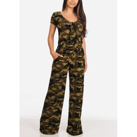 Womens Juniors Ladies Casual Stylish Everyday Pull On Comfortable Stretchy Short Sleeve Wide Leg Camouflage Army Print Jumper Jumpsuit 40210W