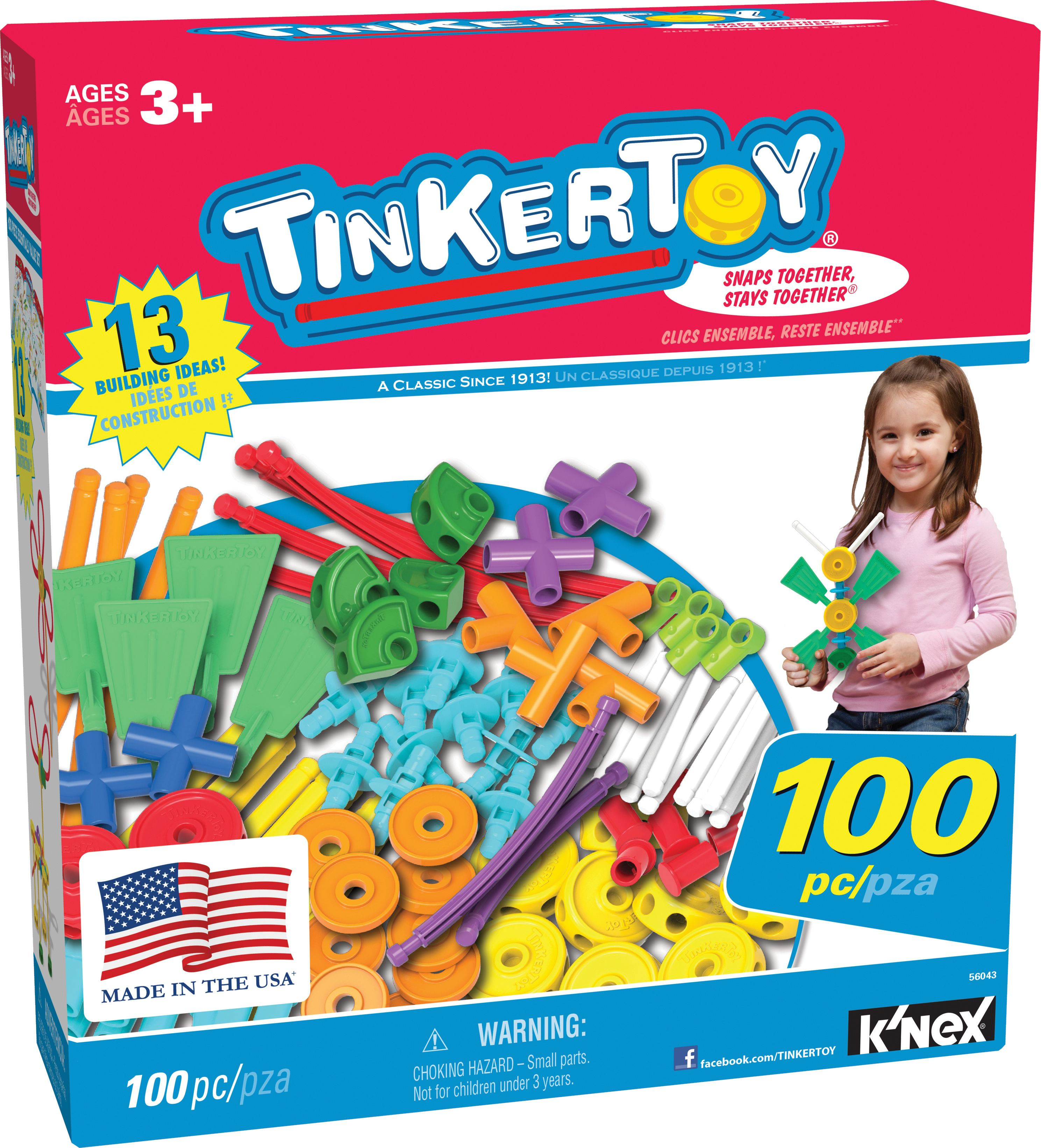 TINKERTOY 100 Piece Essentials Value Set Ages 3 Preschool Education Toy by TINKERTOY