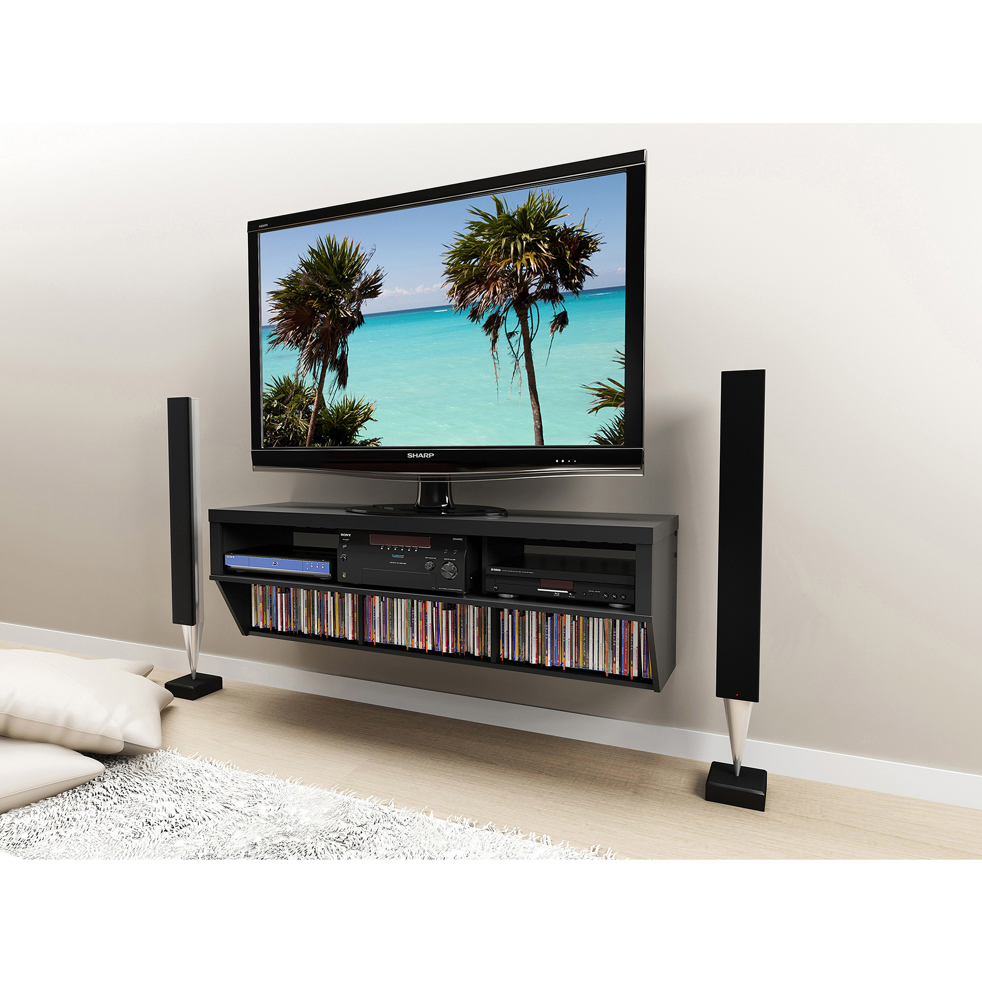 "Wall Hanging Entertainment Center series 9 designer collection 58"" wall-mounted av console - walmart"