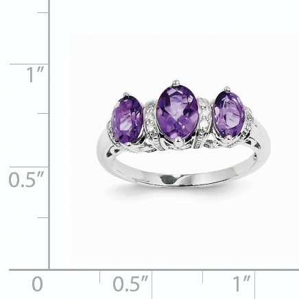 14K White Gold Diamond and Amethyst Oval Ring - image 1 of 2