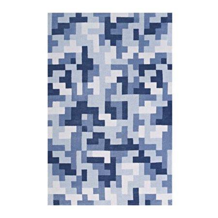 Modway Andela Interlocking Block Mosaic 5x8 Area Rug in Multicolored Light and Dark Blue ()