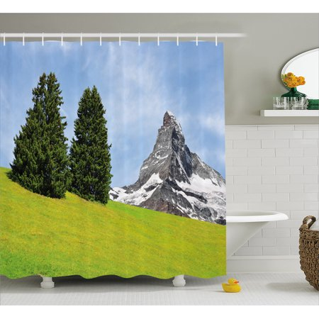 Farmhouse Decor Shower Curtain, View of Mountain Matterhorn in Peaceful Summer with Sun Rays Meadow Print, Fabric Bathroom Set with Hooks, 69W X 84L Inches Extra Long, Green Blue, by Ambesonne - Ray Of Light Farm Halloween