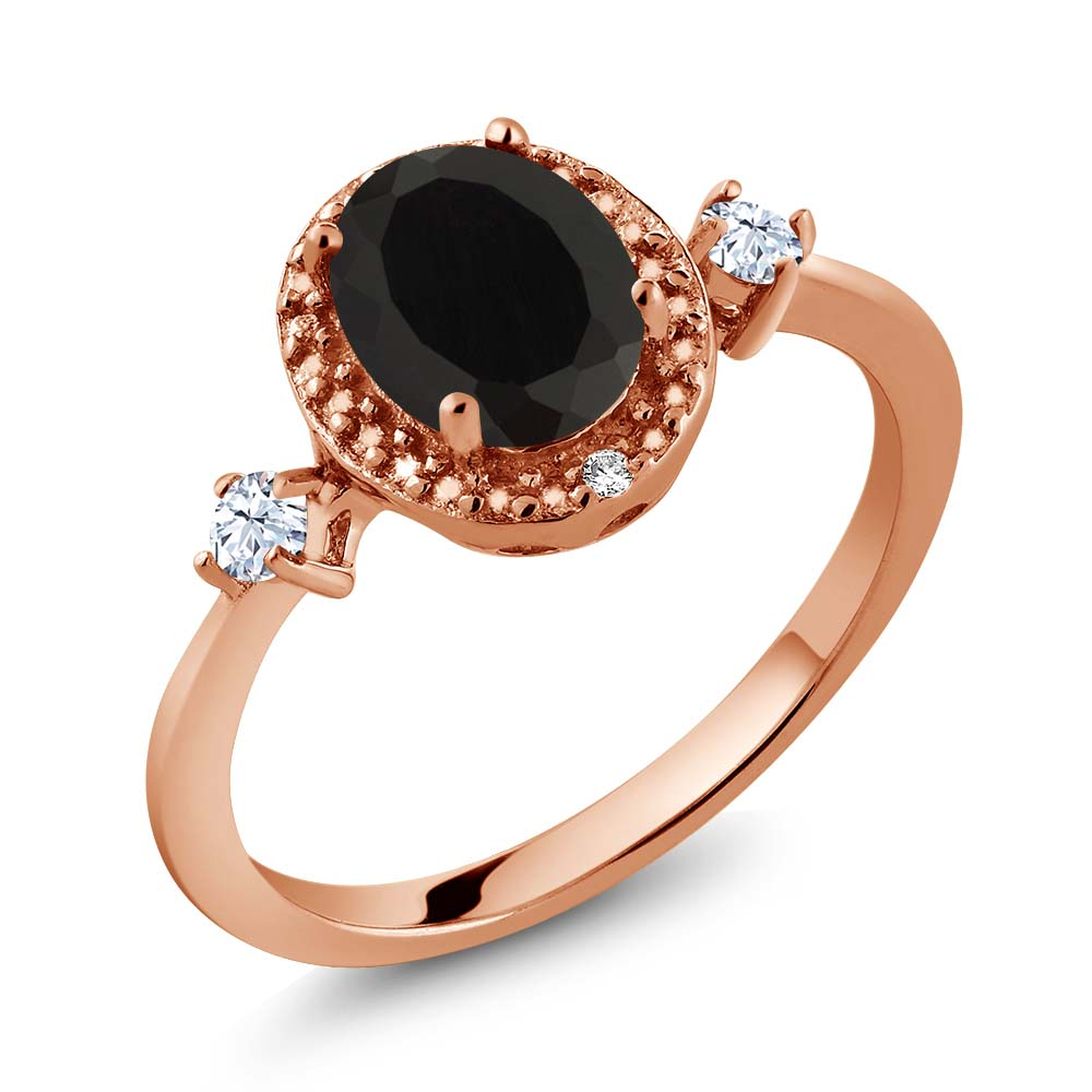 1.36 Ct Oval Black Onyx White Created Sapphire 18K Rose Gold Plated Silver Ring