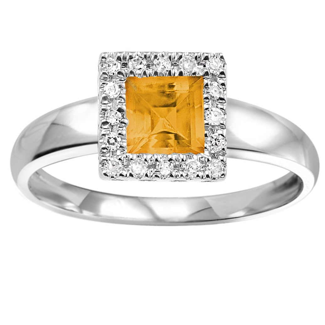 RNB 10k White Gold Princess Cut Citrine with Diamond Accents (Size 6.5)