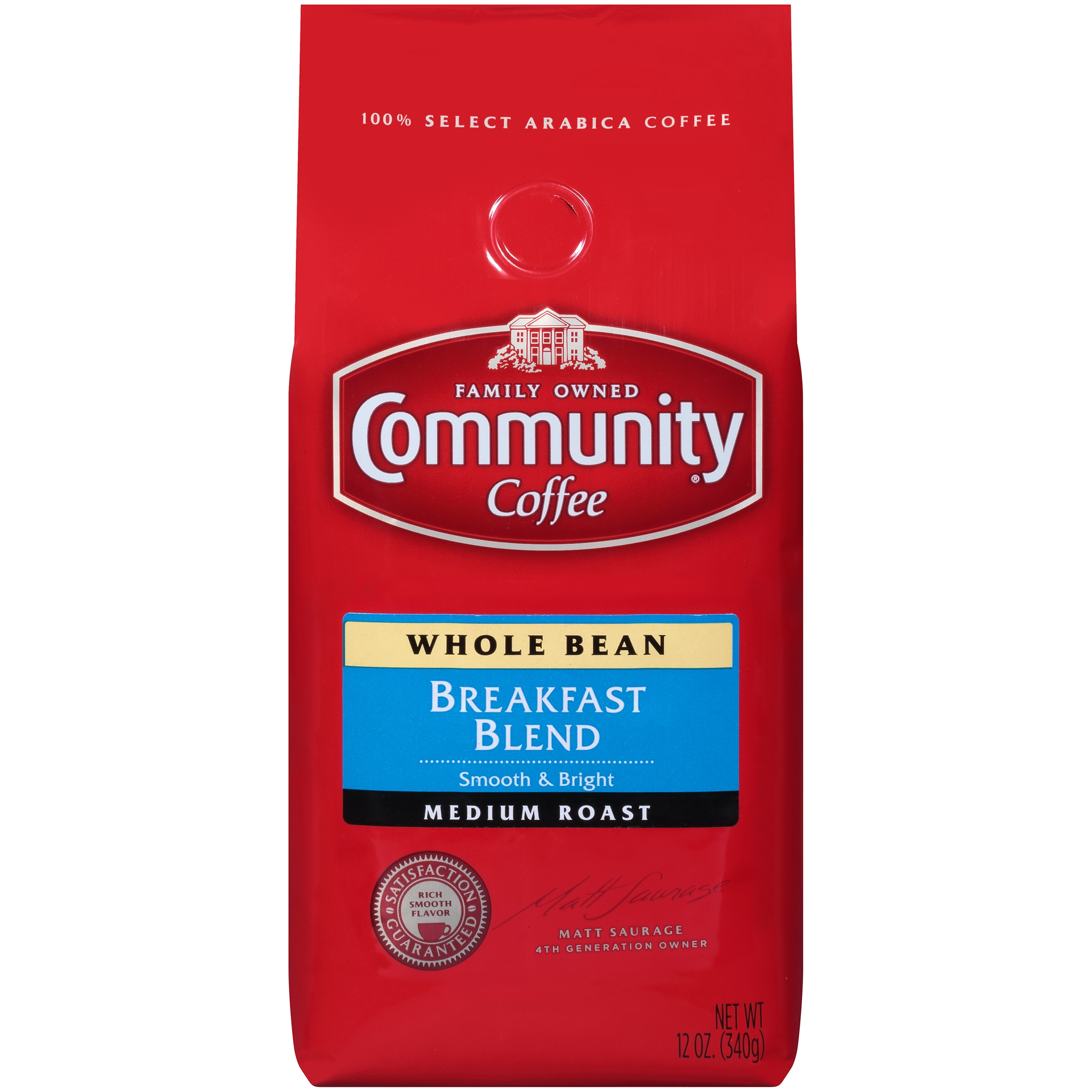 Community Coffee Premium Whole Bean Breakfast Blend Medium Roast Coffee, 12 Ounce