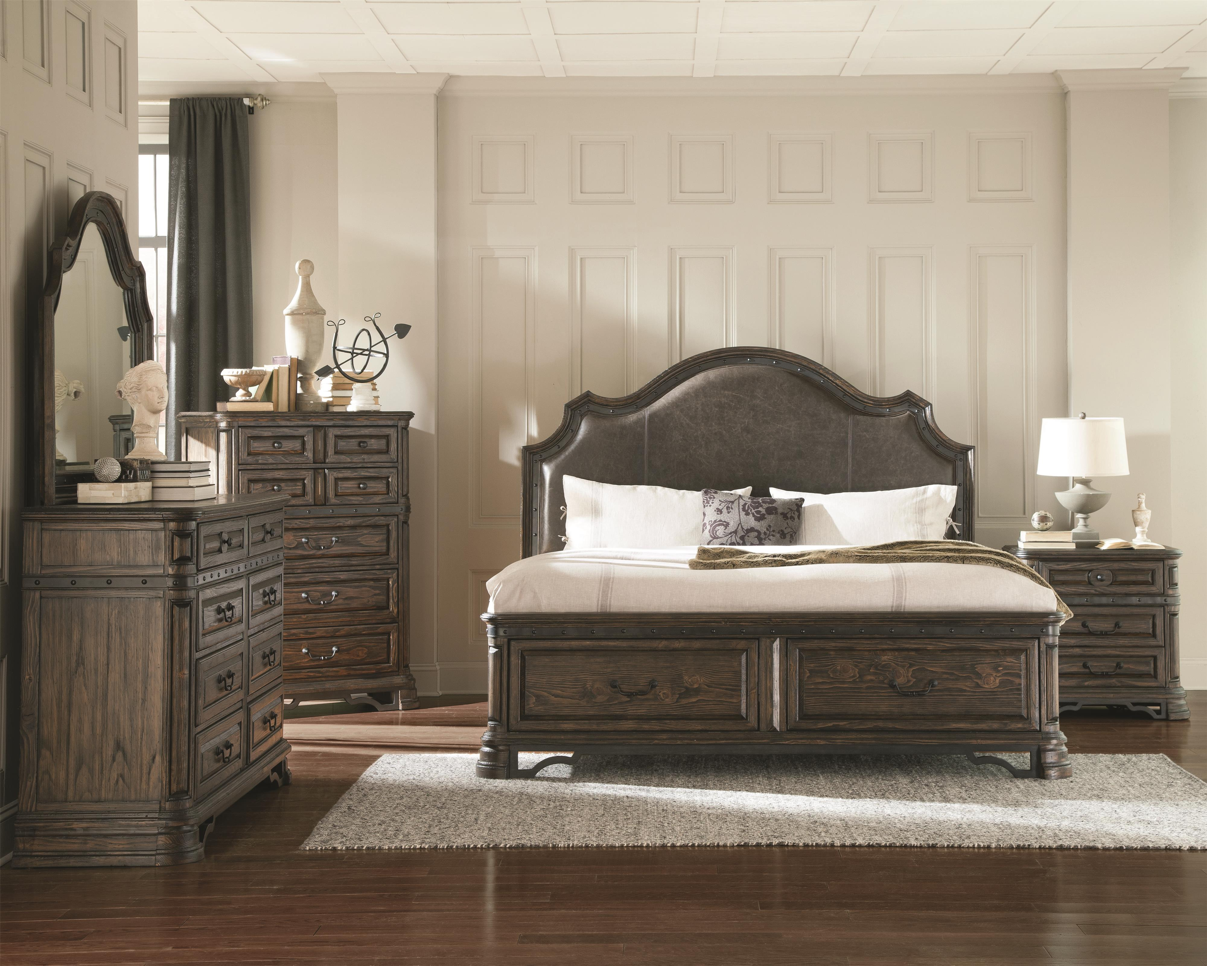 Merveilleux Antique Formal Look Romantic Bedroom 4pc Set Dark Brown Queen Size Bed  Upholstered HB Storage FB Bed Dresser Mirror Nightstand