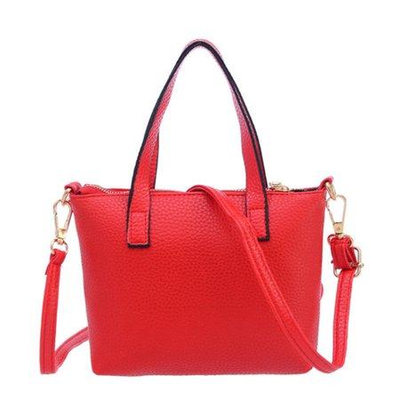 Women Mini PU Handbag Tote Shoulder Bag Crossbody Bag for Girls and Women Korean Style Lichee Pattern PU Bag - Red + Random Logo ()