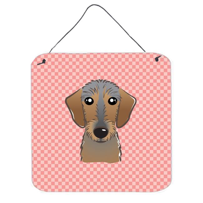 Checkerboard Blue Wirehaired Dachshund Aluminum Metal Wall Or Door Hanging Prints, 6 x 6 In.