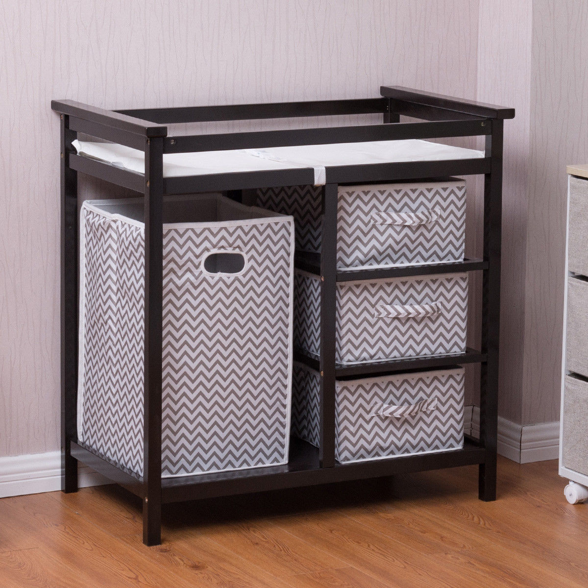 Product Image Costway Infant Baby Changing Table W/3 Basket Hamper Diaper  Storage Nursery