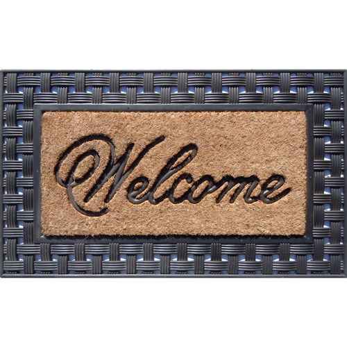 "Better Homes and Gardens 18"" x 24"" Basketweave Welcome Mat, Natural/Black"