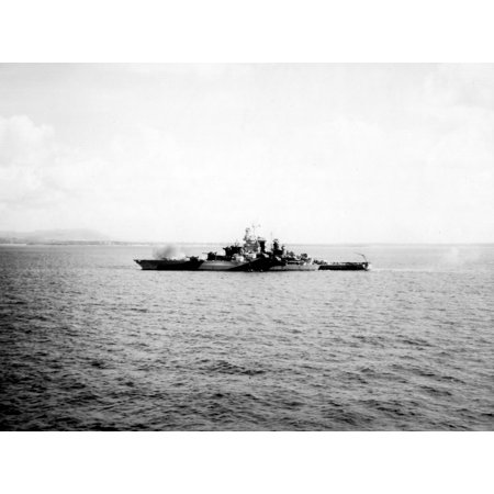 Uss Tennessee Battleship - LAMINATED POSTER The U.S. Navy battleship USS Tennessee (BB-43) bombarding Guam, 19 July 1944. Poster Print 24 x 36