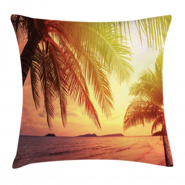 Palm Throw Pillow Cushion Cover Beautiful Sunset Photo In Warm Colors At Tropical Beach Dramatic Sky And Ocean Decorative Square Accent Pillow Case 18 X 18 Multicolor By Ambesonne Walmart Com