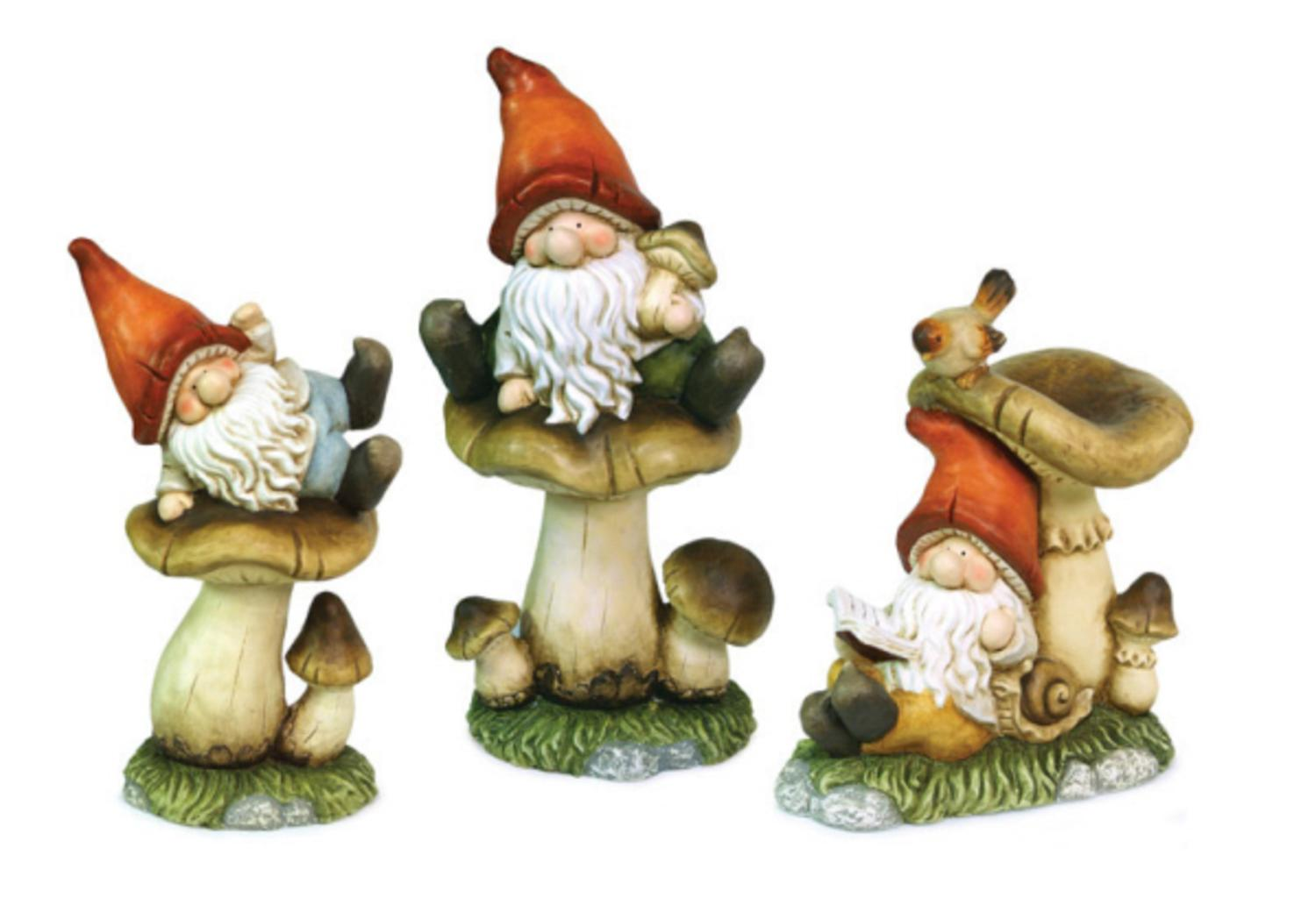 Set of 3 Meadow's Dream Whimsical Garden Gnomes with Mushrooms Outdoor Statues by Melrose