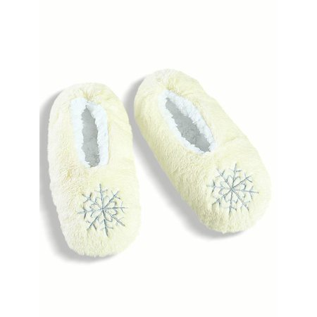 Plush Snowflake Ballet Slippers with Fleece Lining, X-Large, - Costume Ballet Slippers