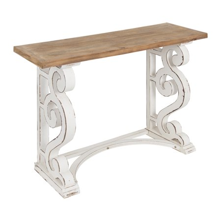 Swell Kate And Laurel Wyldwood Country French Solid Wood Console Table Rustic White Legs Natural Wood Top 42 Inches Wide X 14 Inches Deep X 30 Inches Pdpeps Interior Chair Design Pdpepsorg