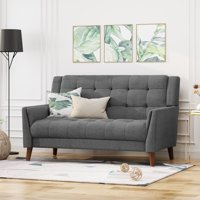 Noble House Laiah Mid Century Modern Fabric Tufted Loveseat, Dark Gray