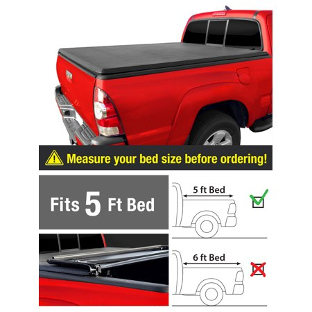 Tri-Fold Truck Bed Tonneau Cover Works with 2019 Toyota Tacoma | Fleetside 5' Bed | for Models with or Without The Deckrail System