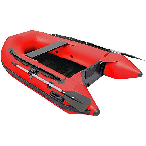 ALEKO Inflatable Fishing Boat with Pre-Installed Slide Slat Floor - 8.4 Foot - Red