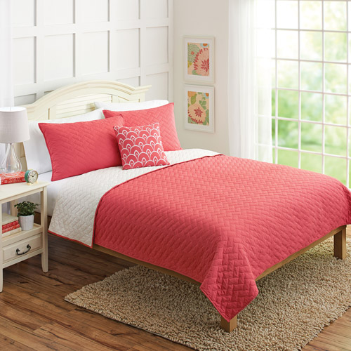 Better Homes and Gardens 4pc Solid Chevron Reversible Quilt Bedding Set