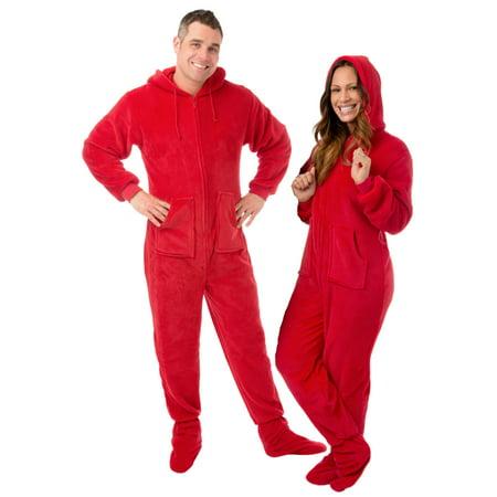 Mens Big Feet (Big Feet Pjs Red Plush Sleeper Adult Footed Pajamas with)
